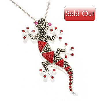 127-323 - Dallas Prince Sterling Silver Lizard Pin-Pendant Made w/ Swarovski® Marcasite