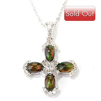 127-343 - Gem Insider Sterling Silver 6 x 4mm Oval Smoked Opal & Gemstone Cross Pendant w/ Chain