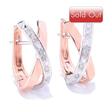 127-369 - Diamond Treasures 14K White & Rose Gold 0.10ctw Diamond X-Shape Hoop Earrings