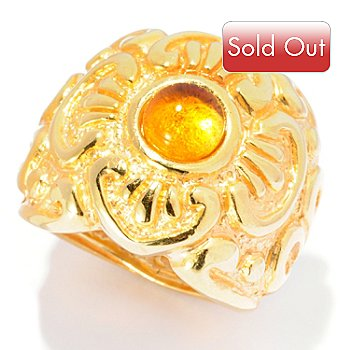 127-393 - Italian Designs with Stefano 14K ''Oro Vita'' 6mm Citrine ''Prezioso'' Ring