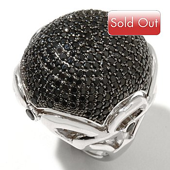 127-411 - Gem Treasures Sterling Silver 2.75ctw Black Spinel Dome Ring