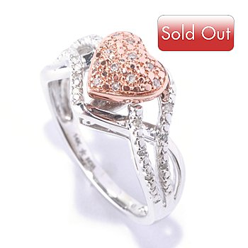 127-412 - Diamond Treasures 14K White & Rose Gold 0.10ctw Diamond Heart Shaped Ring