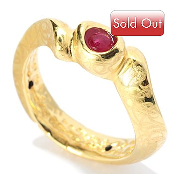 127-413 - Italian Designs with Stefano 14K ''Oro Vita'' Electroform Ruby Wave Ring