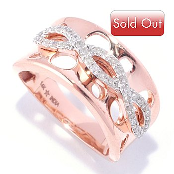 127-415 - Diamond Treasures 14K Rose Gold 0.34ctw Diamond Infinity Overlay Cut Out Band Ring