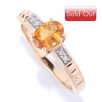 127-427 - Gem Treasures 14K Gold 0.86ctw Mandarin Garnet & Diamond Ring