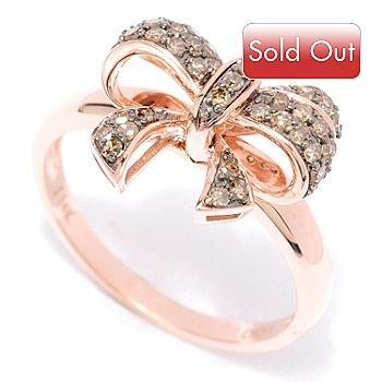 127-448 - Diamond Treasures 14K Rose Gold 0.30ctw Mocha Diamond Bow Ring