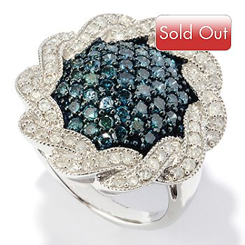 127-471 - Diamond Treasures Sterling Silver 2.01ctw Blue & White Diamond Twisted Round Ring