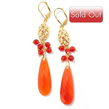 127-484 - Kristen Amato 30 x 10mm Carnelian & Orange Sapphire Drop Earrings