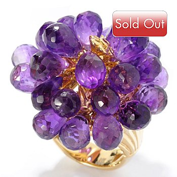 127-495 - Kristen Amato 19.94ctw Amethyst & Pink Sapphire ''The Macie'' Flower Ring