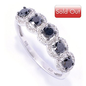 127-507 - Diamond Treasures Sterling Silver 0.83ctw Black & White Diamond Ring
