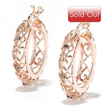 127-520 - Diamond Treasures 14K Rose Gold 0.07ctw Black Diamond Scrollwork Hoop Earrings