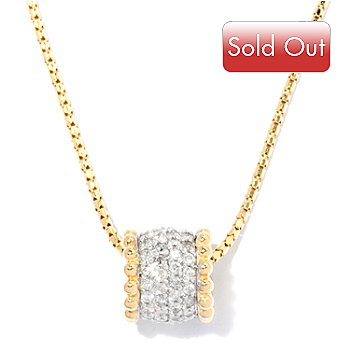 127-577 - Beverly Hills Elegance 14K Gold 0.68ctw Diamond Barrel Pendant w/ Chain
