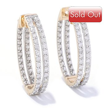 127-591 - Beverly Hills Elegance 14K Gold 0.64ctw Two Row Diamond Hoop Earrings