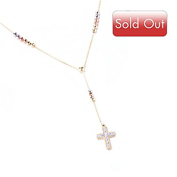 127-594 - Beverly Hills Elegance 14K Tri-Color Gold 0.25ctw Diamond Cross Necklace