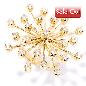 127-646 - Sonia Bitton for Brilliante® Gold Embraced™ Round Cut Starburst Ring