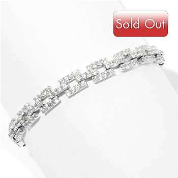 127-650 - Brilliante® Platinum Embraced&trade Round Simulated Diamond Square Link Bracelet