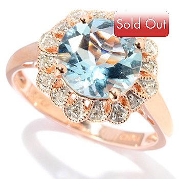 127-678 - Gem Treasures 14K Rose Gold 1.96ctw Round Aquamarine & Diamond Ring