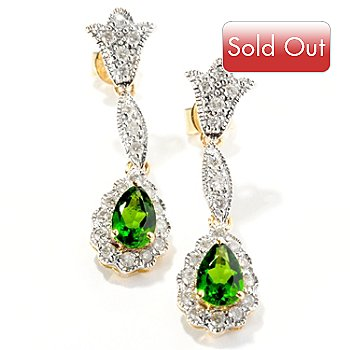 127-682 - Gem Treasures 14K Gold 1.25ctw Pear Shaped Chrome Diopside & Diamond Drop Earrings