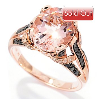 127-689 - Gem Treasures 14K Rose Gold 3.29ctw Oval Pink Morganite, Black & White Diamond Ring