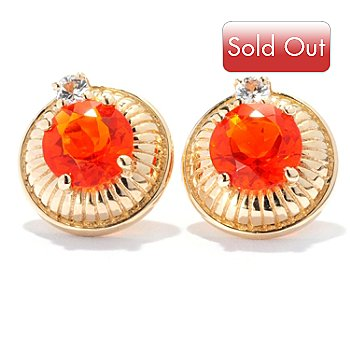 127-694 - Gem Treasures 14K Gold 1.10ctw Fire Opal & White Sapphire Stud Earrings