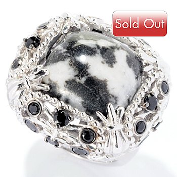 127-699 - Gem Insider Sterling Silver 15mm Square Zebra Marble & Black Spinel Ring