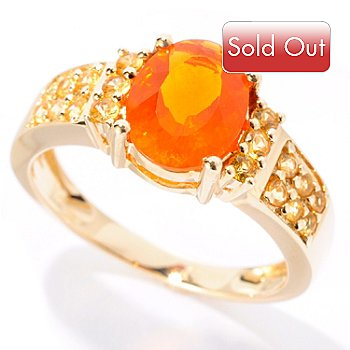 127-703 - Gem Treasures 14K Gold 1.28ctw Oval Fire Opal & Yellow Sapphire Ring
