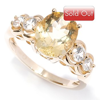 127-707 - Gem Treasures 14K Gold 10 x 8mm Oval Heliodor & White Sapphire Ring
