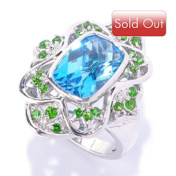 127-710 - Gem Insider Sterling Silver 4.11ctw  Swiss Blue Topaz & Chrome Diopside Ring