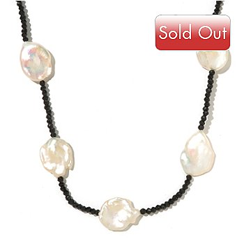 127-752 - 36'' 16-18mm White Freshwater Keshi Cultured Pearl & Black Spinel Necklace