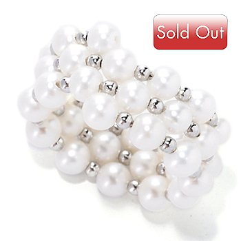 127-757 - 4-5mm White Freshwater Cultured Pearl & Silver-tone Bead Wrap Ring