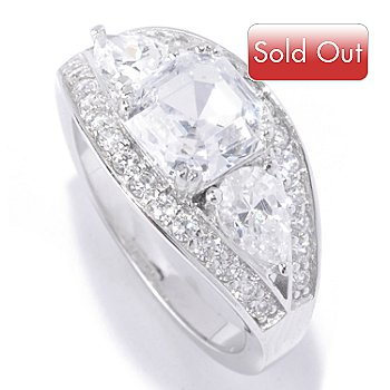127-768 - Brilliante® Platinum Embraced™ 3.16 DEW Asscher & Pear Cut Band Ring