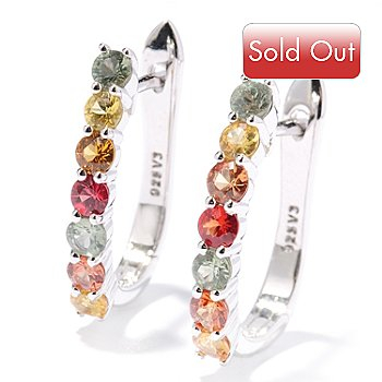 127-804 - Gem Treasures Sterling Silver 1.57ctw Multi Color Sapphire Oval Hoop Earrings