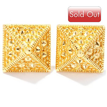 127-810 - Jaipur Bazaar Gold Embraced™ Pyramid Stud Earrings