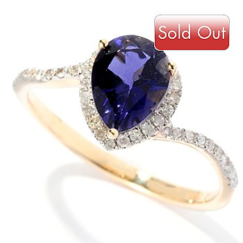 127-836 - Gem Treasures 14K Gold 1.04ctw Pear Shaped Iolite & Diamond Ring