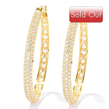 127-874 - Sonia Bitton for Brilliante® 3.00 DEW Round Cut Pave Hoop Earrings