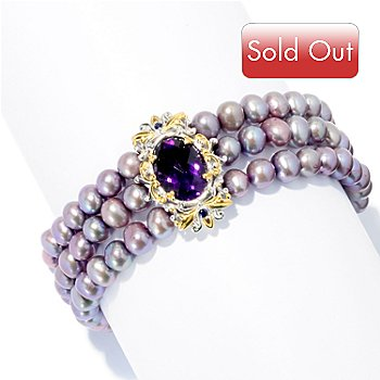 127-929 - Gems en Vogue II 6mm Cultured Freshwater Pearl & Multi Gemstone Three Row Bracelet