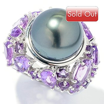 127-966 - Sterling Silver 13-13.5mm Cultured Pearl & Gemstone Ring
