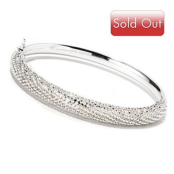 127-994 - SempreSilver™ Diamond Cut Beaded Top Hinged Bangle Bracelet