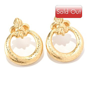 128-009 - Italian Designs with Stefano 14K ''Oro Vita'' Electroform Florence Lily Earrings
