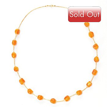 128-010 - Italian Designs with Stefano 14K Gold 18'' Amber ''Silk Oro'' Necklace