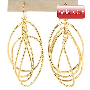 128-015 - Italian Designs with Stefano 14K Gold Textured Circles Dangle Earrings