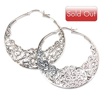 128-055 - Artisan Silver by Samuel B. Floral Design Hoop Earrings
