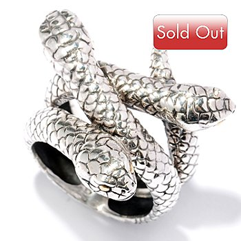 128-056 - Artisan Silver by Samuel B. Three Snake Heads Ring