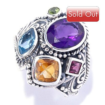 128-090 - Artisan Silver by Samuel B. 4.53ctw Multi Gemstone Geometric Ring