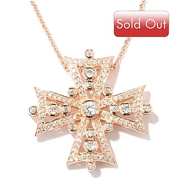 "128-129 - Sonia Bitton for Brilliante® 1.57 DEW Bezel Set Cross Pendant w/ 18"" Chain"