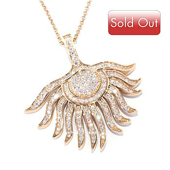 "128-177 - Sonia Bitton for Brilliante® 2.59 DEW Polished Round Cut Feather Pendant w/ 18"" Chain"