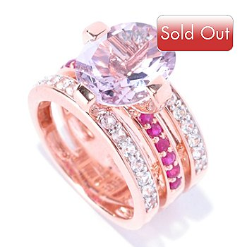 128-188 - Omar Torres 4.70ctw Amethyst, White Sapphire & Ruby Three-Row Ring