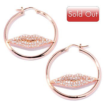 128-208 - Sonia Bitton for Brilliante® 1.95 DEW Round Cut Pave Lips Hoop Earrings