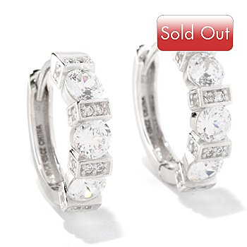 128-212 - Brilliante® Platinum Embraced™ 1.76 DEW 100-Facet Round Cut Polished Hoop Earrings