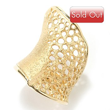 128-231 - Charles Garnier Gold Embraced™ Diamantini Honeycomb Wave Band Ring